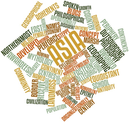 Abstract word cloud for Asia with related tags and terms