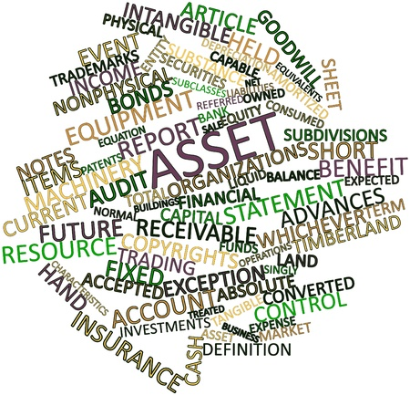 liabilities: Abstract word cloud for Asset with related tags and terms Stock Photo