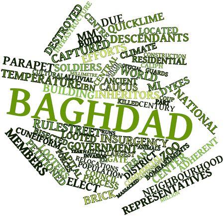 関連するタグと用語とバグダッドの抽象的な単語雲 写真素材