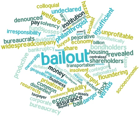 raged: Abstract word cloud for Bailout with related tags and terms Stock Photo