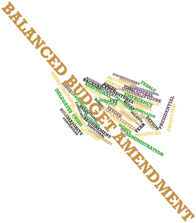amendment: Abstract word cloud for Balanced budget amendment with related tags and terms