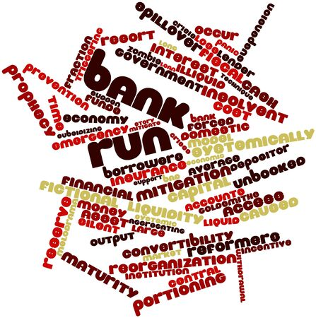Abstract word cloud for Bank run with related tags and terms Stock Photo - 16445972