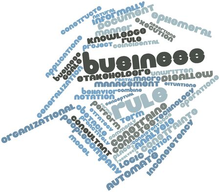 interchangeably: Abstract word cloud for Business rule with related tags and terms Stock Photo
