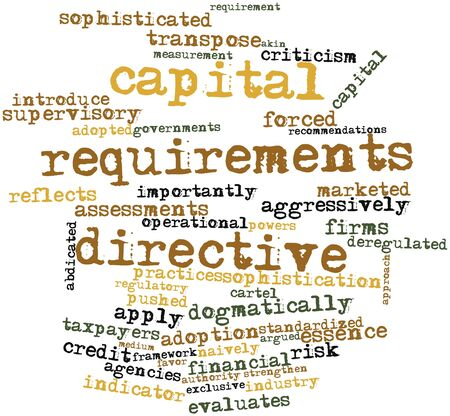 importantly: Abstract word cloud for Capital Requirements Directive with related tags and terms Stock Photo