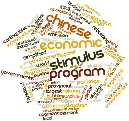 Abstract word cloud for Chinese economic stimulus program with related tags and terms photo