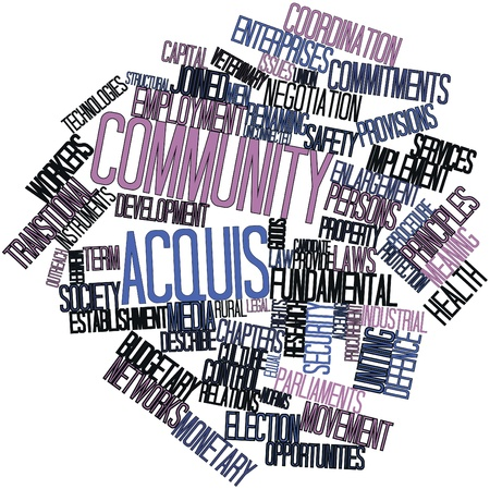 Abstract word cloud for Community acquis with related tags and terms Stock Photo - 16446055