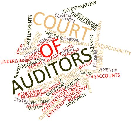 criticised: Abstract word cloud for Court of Auditors with related tags and terms Stock Photo