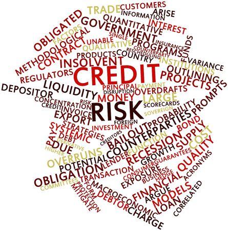 correlation: Word cloud astratto per il rischio di credito con tag correlati e termini