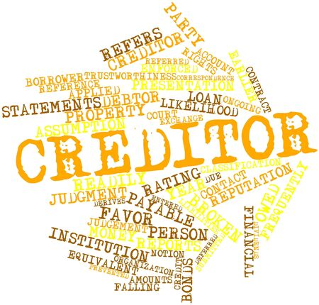 time account: Abstract word cloud for Creditor with related tags and terms Stock Photo