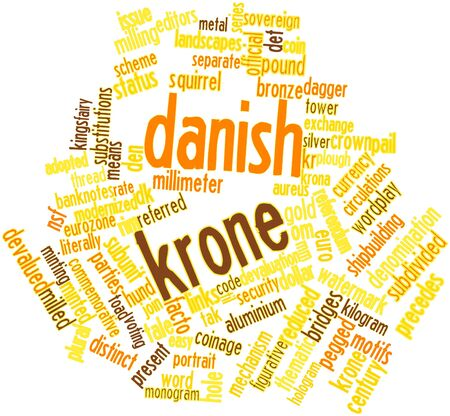 facto: Abstract word cloud for Danish krone with related tags and terms