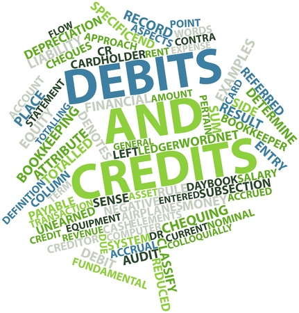 cash flows: Abstract word cloud for Debits and credits with related tags and terms