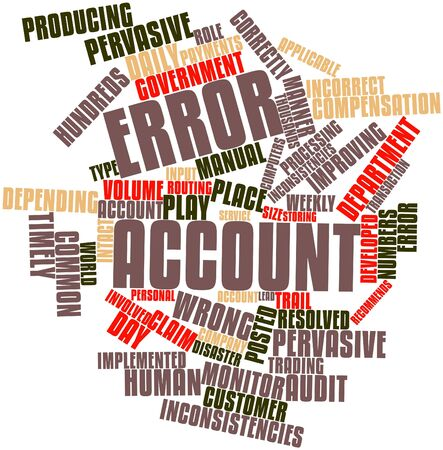 Abstract word cloud for Error account with related tags and terms photo
