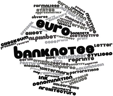 approximately: Abstract word cloud for Euro banknotes with related tags and terms Stock Photo