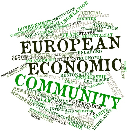 transferred: Abstract word cloud for European Economic Community with related tags and terms Stock Photo