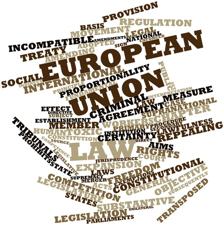 incompatible: Abstract word cloud for European Union law with related tags and terms