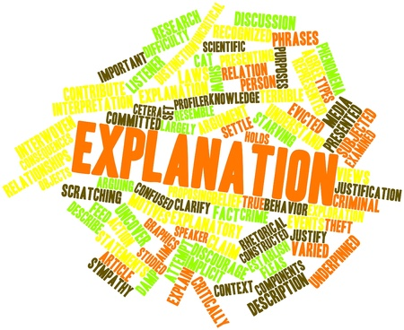 explanatory: Abstract word cloud for Explanation with related tags and terms Stock Photo