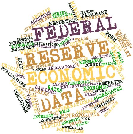 financial institutions: Abstract word cloud for Federal Reserve Economic Data with related tags and terms