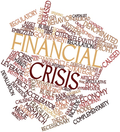 economists: Abstract word cloud for Financial crisis with related tags and terms