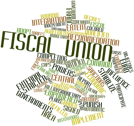 decides: Abstract word cloud for Fiscal union with related tags and terms Stock Photo