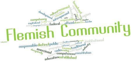 関連するタグと用語とフランダースのコミュニティの抽象的な単語雲