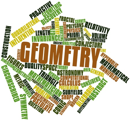 algebraic: Abstract word cloud for Geometry with related tags and terms Stock Photo