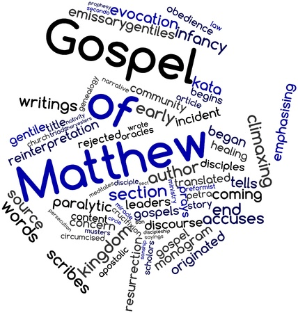 Abstract word cloud for Gospel of Matthew with related tags and terms Фото со стока