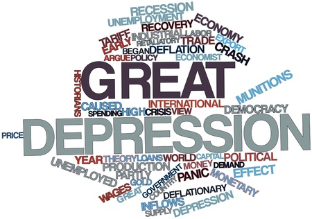 devastating: Abstract word cloud for Great Depression with related tags and terms Stock Photo