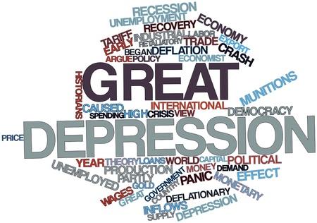 historians: Word cloud astratto per Grande Depressione con tag correlati e termini Archivio Fotografico