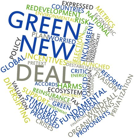 proponents: Abstract word cloud for Green New Deal with related tags and terms