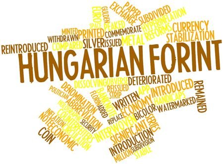 contributing: Abstract word cloud for Hungarian forint with related tags and terms Stock Photo
