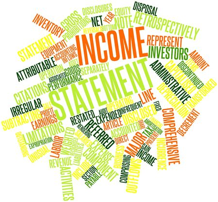 expended: Abstract word cloud for Income statement with related tags and terms