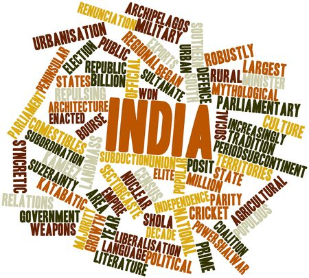 Abstract word cloud for India with related tags and terms photo