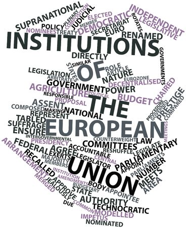 chaired: Abstract word cloud for Institutions of the European Union with related tags and terms