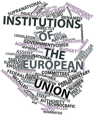parliaments: Word cloud astratto per le istituzioni dell'Unione europea con i tag e termini correlati