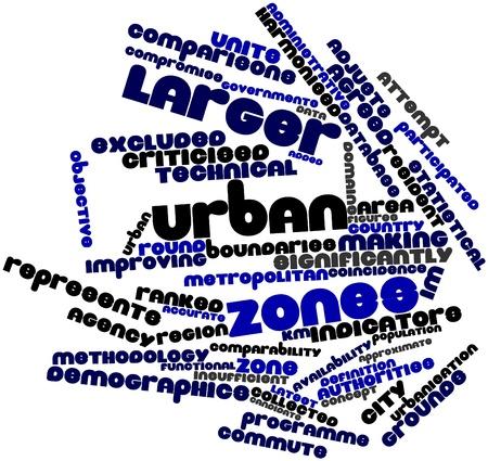 用語と関連するタグ都市の区域の拡大のための抽象的な単語雲