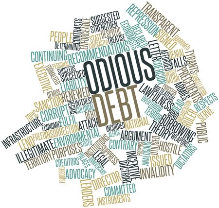Abstract word cloud for Odious debt with related tags and terms photo