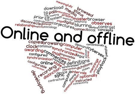 offline: Abstract word cloud for Online and offline with related tags and terms