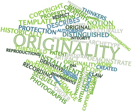 thinkers: Abstract word cloud for Originality with related tags and terms