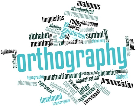 Abstract word cloud for Orthography with related tags and terms Stock Photo - 16445927