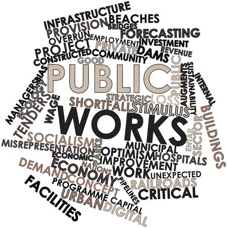 justified: Abstract word cloud for Public works with related tags and terms