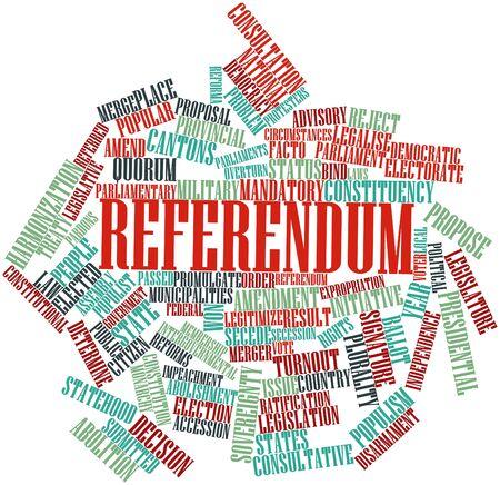 parliaments: Word cloud astratto per il referendum con tag correlati e termini