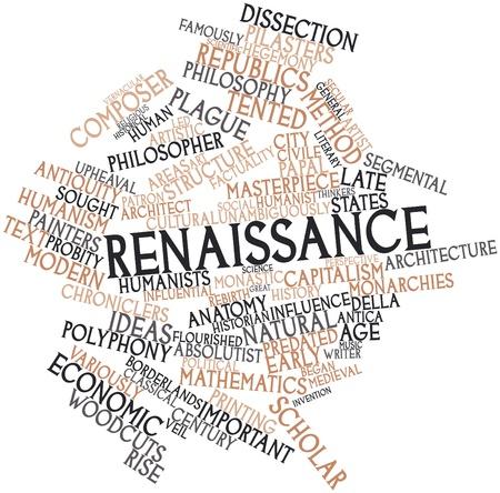 humanismo: Nube palabra abstracta para renacentista con etiquetas y términos relacionados