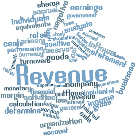 Abstract word cloud for Revenue with related tags and terms photo