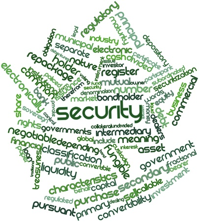 subordinated: Abstract word cloud for Security with related tags and terms Stock Photo