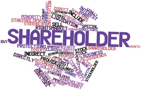 privileges: Abstract word cloud for Shareholder with related tags and terms Stock Photo