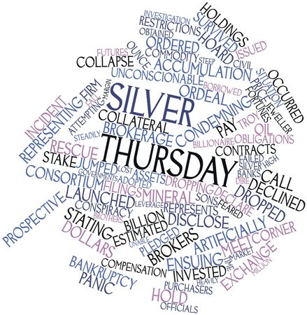 ordeal: Abstract word cloud for Silver Thursday with related tags and terms