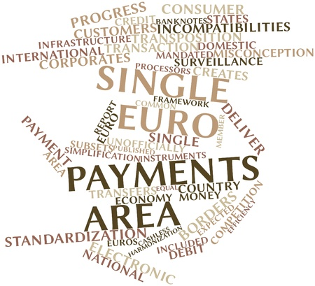 misconception: Abstract word cloud for Single Euro Payments Area with related tags and terms