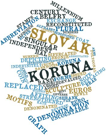 adjusted: Abstract word cloud for Slovak koruna with related tags and terms