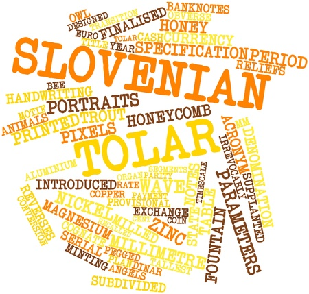 slovenian: Abstract word cloud for Slovenian tolar with related tags and terms