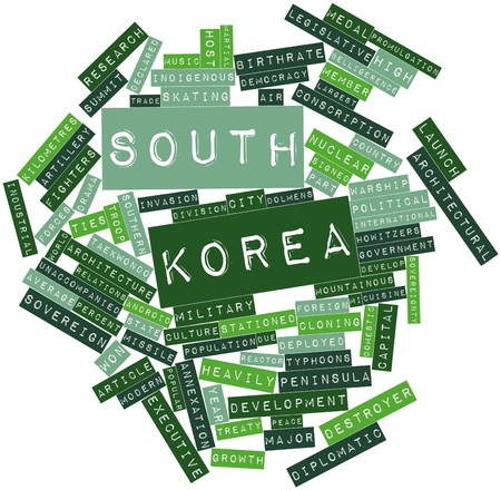 deployed: Abstract word cloud for South Korea with related tags and terms